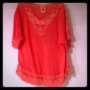 Coral eyelet Johnny Was tunic
